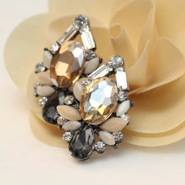 "Lady Handmade New Design Multi Color Bling Rainbow Stud Earrings 1 1/4"" E272"