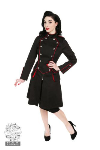 H/&R WOMENS RED BLACK ARMEE MADCHEN MILITARY COAT LONG ARMY KNEE OFFICER JACKET