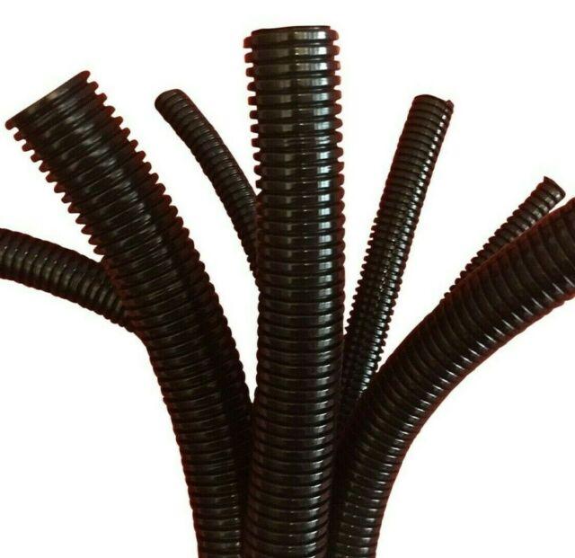 Black Conduit Split /& Non Split Tube Cable Tidy Organiser Flexible Trunking