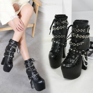 Platform-Chain-decor-Lace-up-Rivet-Block-High-Heels-Ankle-Boots-Punk-Women-Shoes