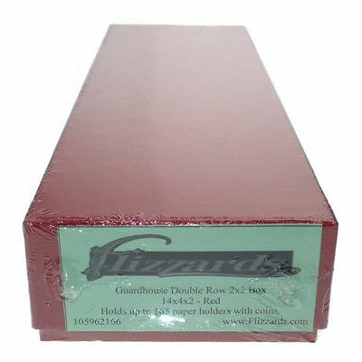 """10/""""X4/""""X2/"""" RED DOUBLE ROW STORAGE BOX FOR 2X2 CARDBOARD COIN HOLDERS"""