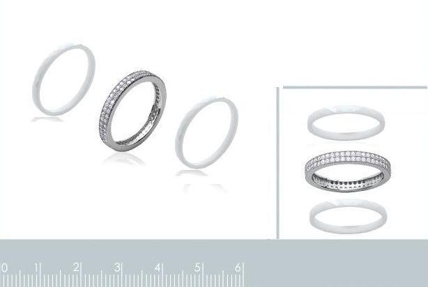 Anello Ceramica T50 Tripla anelli-OZ Zirconio & argentoo argentoo argentoo 925 1000 Gioielli donna f5240f