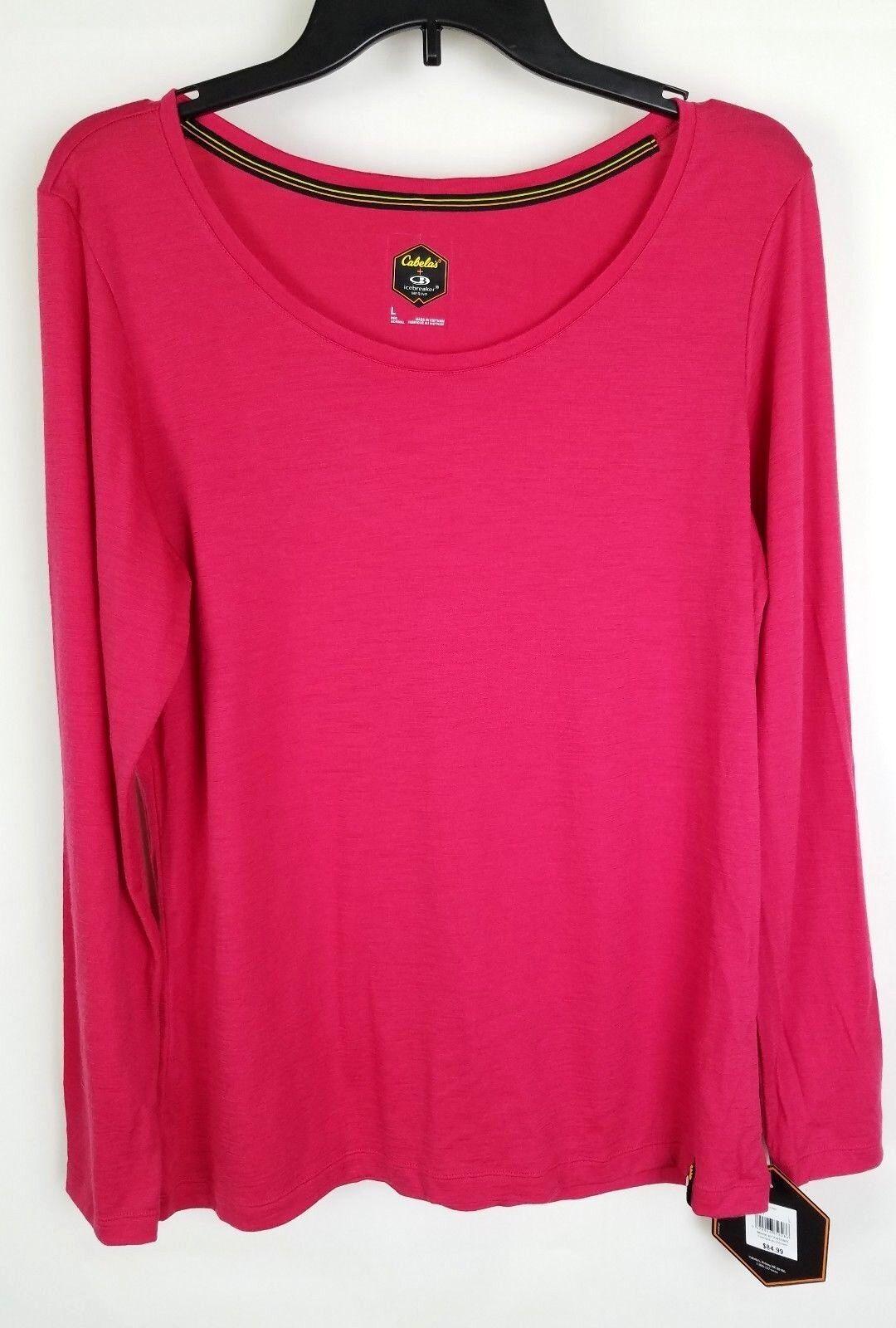 Cabela's  Icebreaker Wouomo L Merino Wool Long Sleeve Scoop Shirt Top Cherub