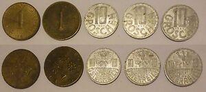 Austria-Repubblica-Republik-Osterreich-5-monete-5-coins-1-schilling-10-groschen