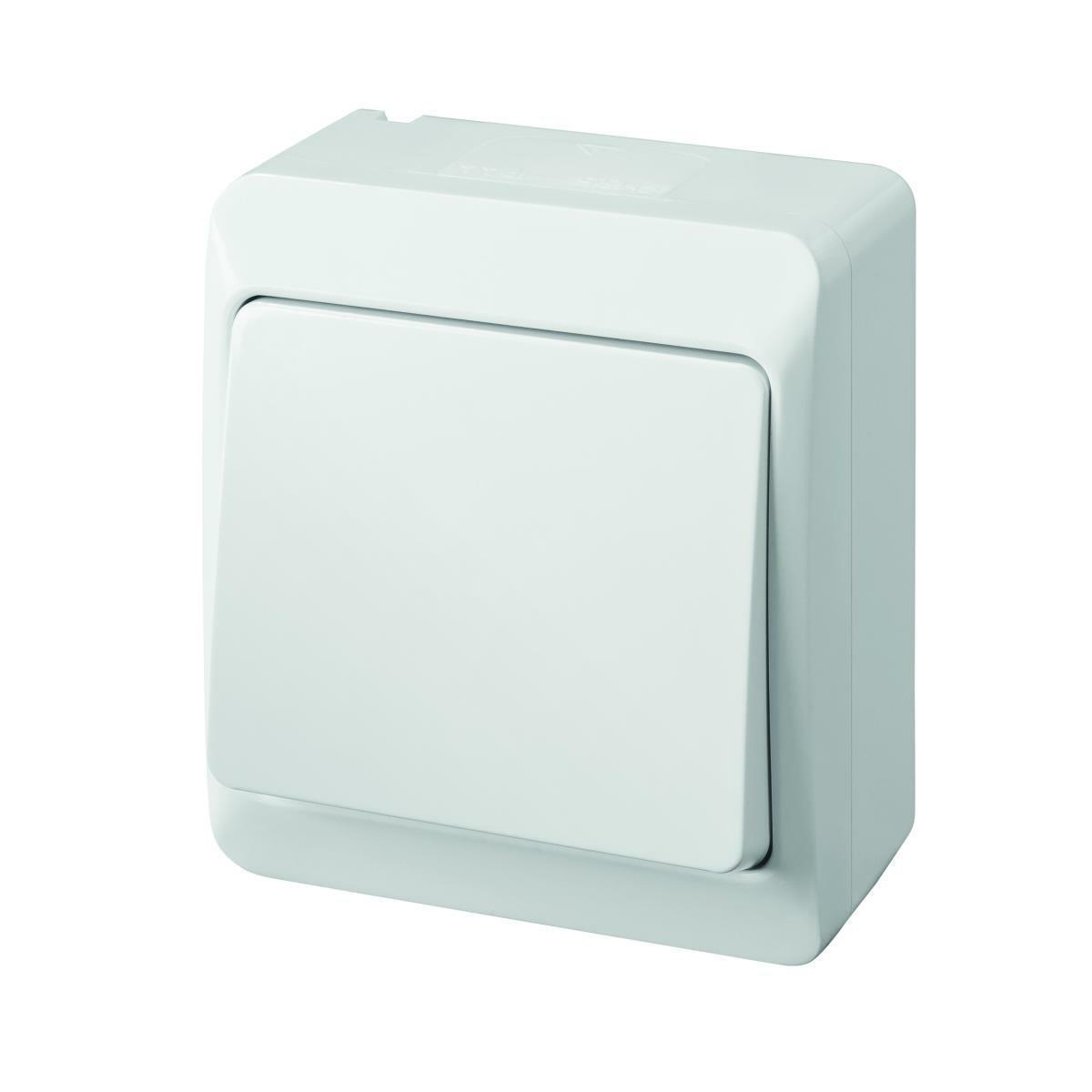 Aufputz Wechsel-Schalter grau IP44 selbstdichtend f/ür den Au/ßenbereich