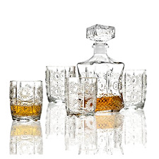 Decanter Crystal Bottle Wine Liquor Vintage Glass Scotch Stopper Bar 7 Piece Set