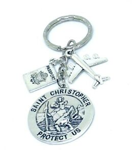 St-Christopher-patron-saint-of-travellers-amp-aeroplane-keyring-World-travel-gift