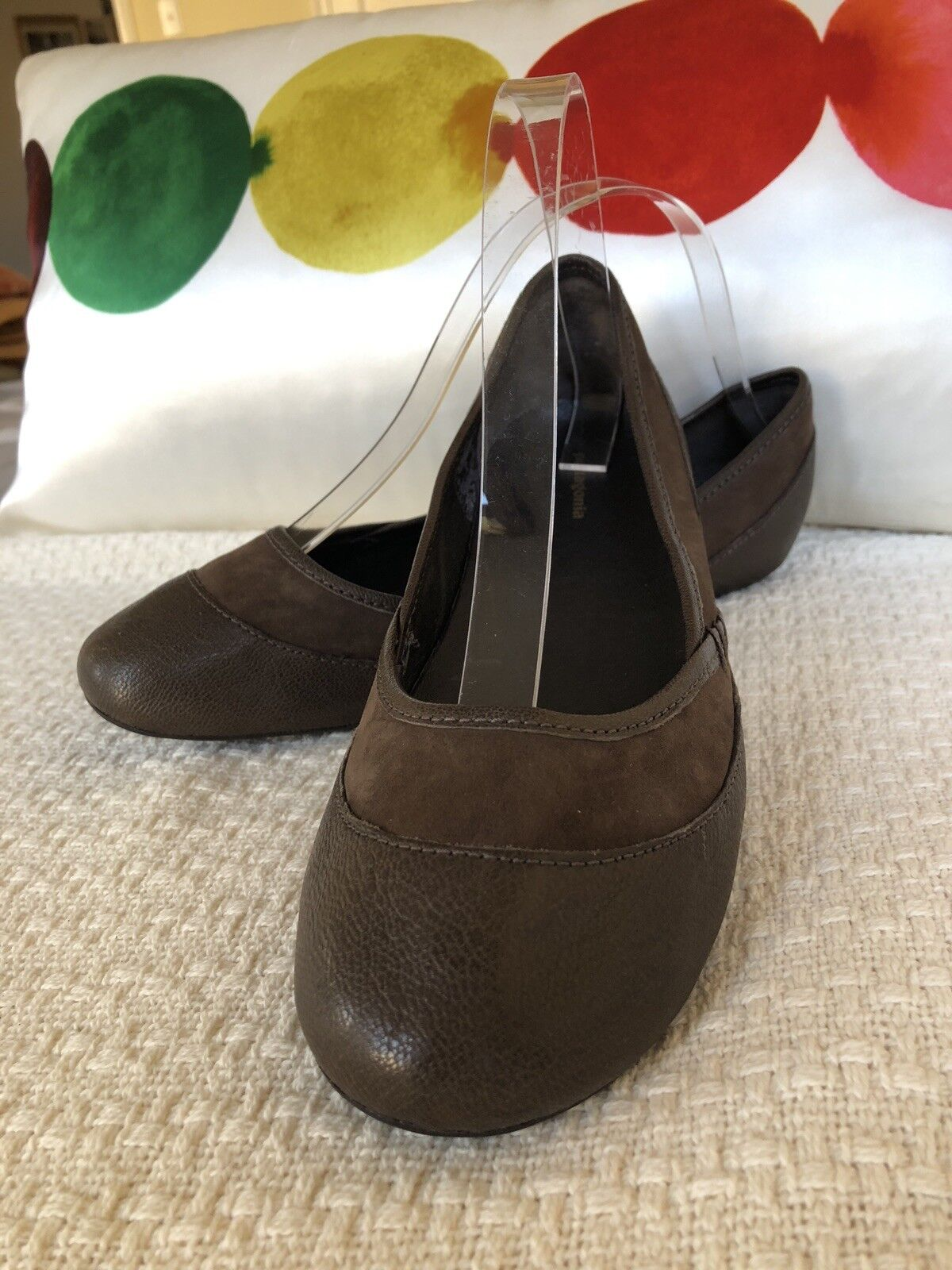 Patagonia Maha lisse Ballet Plat Chaussures Cuir Daim Marron Taille 7 US NEUF