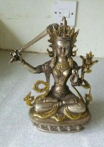 VINTAGE-SILVER-PLATED-BRONZE-TIBETAN-BUDDHIST-GODDESS-DEITY-STATUE-MANJUSHRI