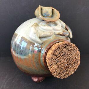 Studio-Art-Pottery-Ceramic-COWBOY-HAT-PIGGY-BANK-w-Cork-Snout-Gray-Blue-Brown