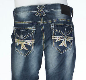 XTREME-COUTURE-by-AFFLICTION-Mens-Denim-Jeans-GEO-FLAP-CROSS-Embroidered-79-NWT