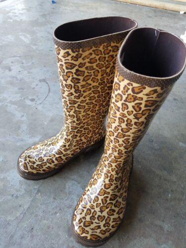 NWT CROCS Leopard Print Women Tall Rain Boots Size US 6//EU 36-37