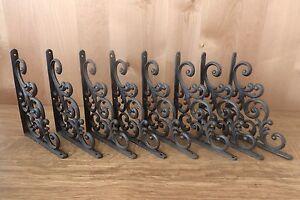 """8 BROWN ANTIQUE-STYLE 9.5"""" SHELF BRACKETS CAST IRON garden rustic LEAF & VINE"""