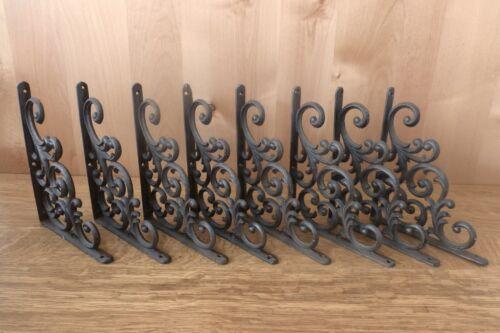 """8 BROWN ANTIQUE-STYLE  9.5/"""" SHELF BRACKETS CAST IRON garden rustic LEAF /& VINE"""