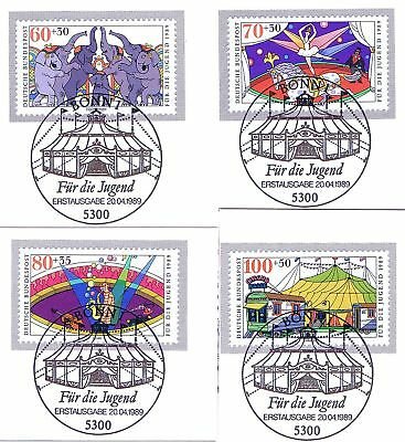 Ausdrucksvoll Brd 1989: Zirkus! Jugendmarken Nr. 1411-1414 Mit Bonner Sonderstempeln! 1a 1802