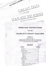 ALLEN E-77 CIRCUIT ANALYZER TESTER OPERATING INSTRUCTION MANUAL 14 PAGES RE 3