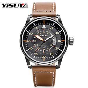YISUYA-Men-039-s-Military-Quartz-Movement-Wrist-Watch-Genuine-Leather-Band-Bracelet