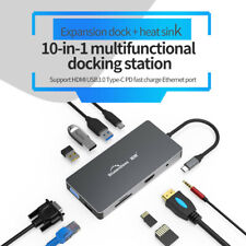 10 in 1 Type C Laptop Docking Station USB 3.0 HDMI TF LAN PD USB Hub for MacBook