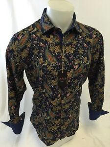 Mens-AZARO-By-SUSLO-COUTURE-Designer-Woven-Sport-Shirt-NAVY-BROWN-PAISLEY-SLIM