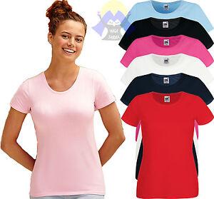 T-shirt-ELASTICIZZATA-Donna-Girocollo-FRUIT-OF-THE-LOOM-Maglietta-a-Manica-Corta