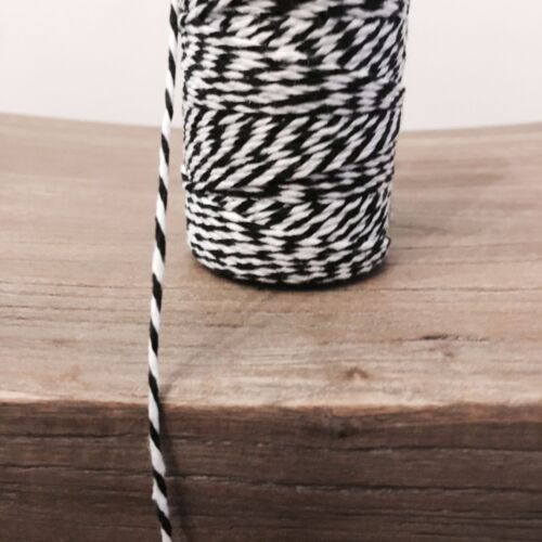 2 Metres Black and White 1.5mm Striped Bunting 100/% Cotton String Twine Bakers