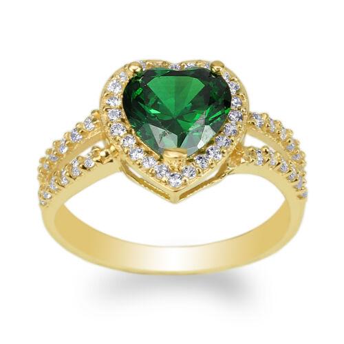 JamesJenny Yellow Gold Plated 1.8ct Heart Emerald CZ Halo Beautiful Ring 4-10