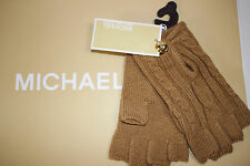 NWT MICHAEL KORS Women's Camel Cable Knit MK BUTTON Fingerless Gloves One Size