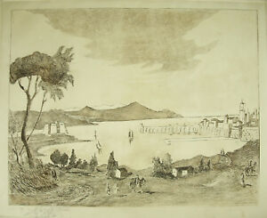 Engraving-Signed-and-Artist-in-Determine-1976-View-D-039-1-Port-Mediterranean