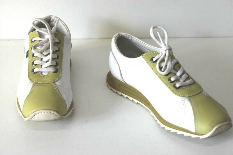 Kickers Sneakers Leather Bicolour Green & White Almond T 37 Very Good Condition