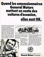 PUBLICITE ADVERTISING 055  1968  GENERAL MOTORS   véhicules d'occasion garantis