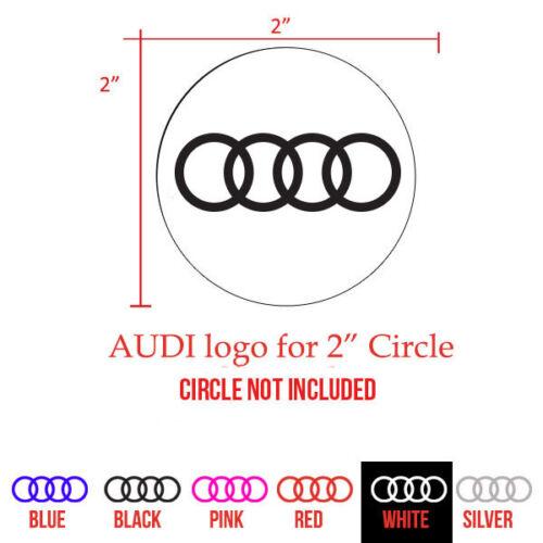 """AUDI Center Cap 4 pcs Decal set for 2/"""" Circle"""