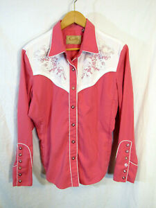 Scully-Women-039-s-Western-Cowgirl-Rodeo-Long-Sleeve-Snap-Front-Shirt-Size-M-Pink