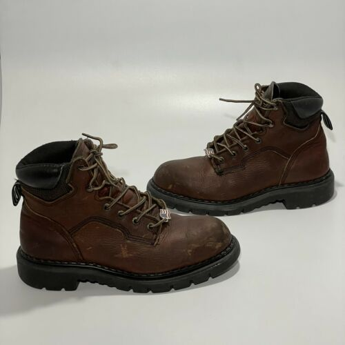 Red Wing Womens Sz 6.5 D Us Brown Leather Steel To