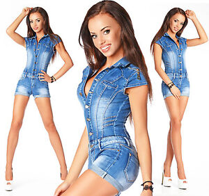 Sexy-Donna-Blu-Denim-Jeans-Pantaloncini-Hot-Tuta-Intera-a-623