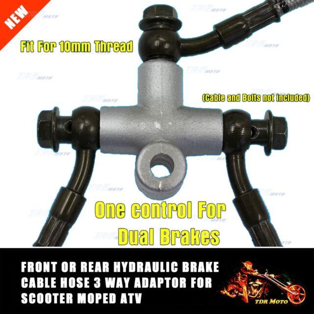 3 way Brake Hose Adaptor 10mm thread for dual brakes ATV Quad Bike Go Kart Buggy