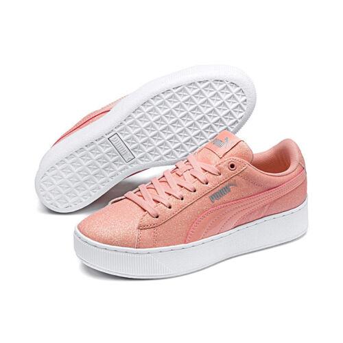 Puma Vikky Paillettes Chaussures Junior Fille forme Femmes Plate 366856 Abricot qfCrdw4q
