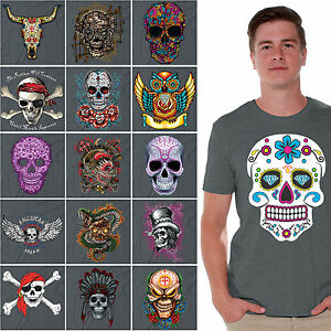 Day-of-the-Dead-T-SHIRT-sugar-skull-Halloween-Dia-De-Los-Muertos-CHARCOAL