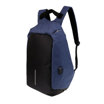 Anti-theft Mens Laptop Notebook Backpack USB Charging Port School Bag Blue