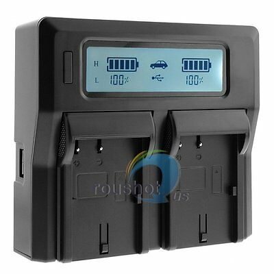 LCD Dual Channel Battery Charger LP-E6 Fr Canon 5D Mark II III 70D 60D 7D 6D 5Ds