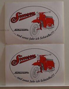 Details Zu 2 X Schöner Aufkleber Simson Schwalbe Oval