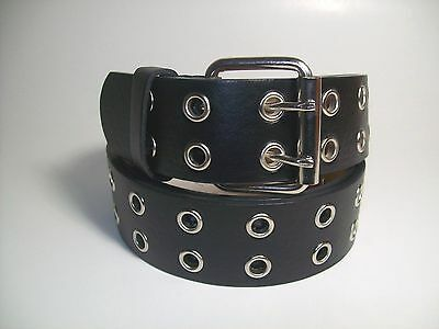 "Men leather belt Two Hole Metal Black with Silver Buckle XL 42 - 44""  # 9915B"