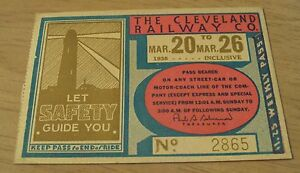 """VTG 1938 WEEKLY Pass~""""The CLEVELAND RAILWAY CO""""~Ohio~"""