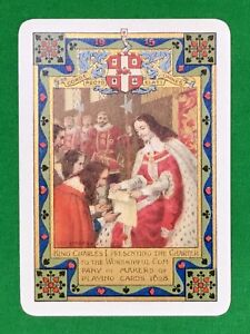 Playing-Cards-1-Single-Card-Old-1915-Wide-WORSHIPFUL-Co-KING-CHARLES-1-Royal