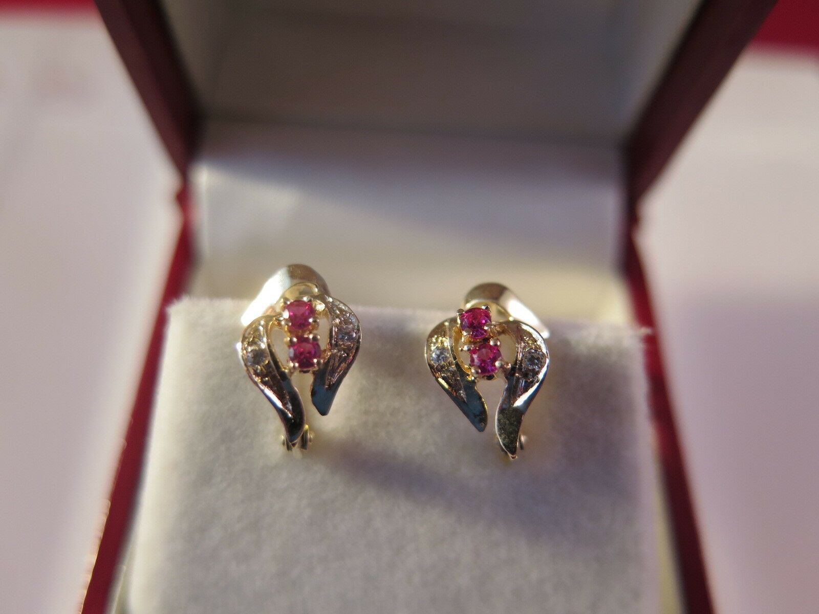 14k yellow gold diamond and ruby earrings ()