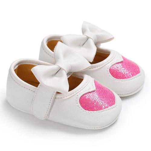 Newborn Baby Girl Anti-slip Crib Pram Shoes Bow Sequin Heart Soft Sole Prewalker