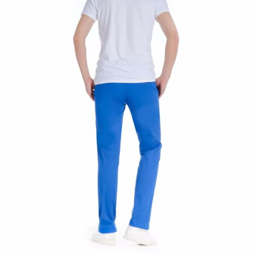 Men/'s Smart Casual Cotton Slim Skinny Fit Chino Trousers Bright Royal Blue
