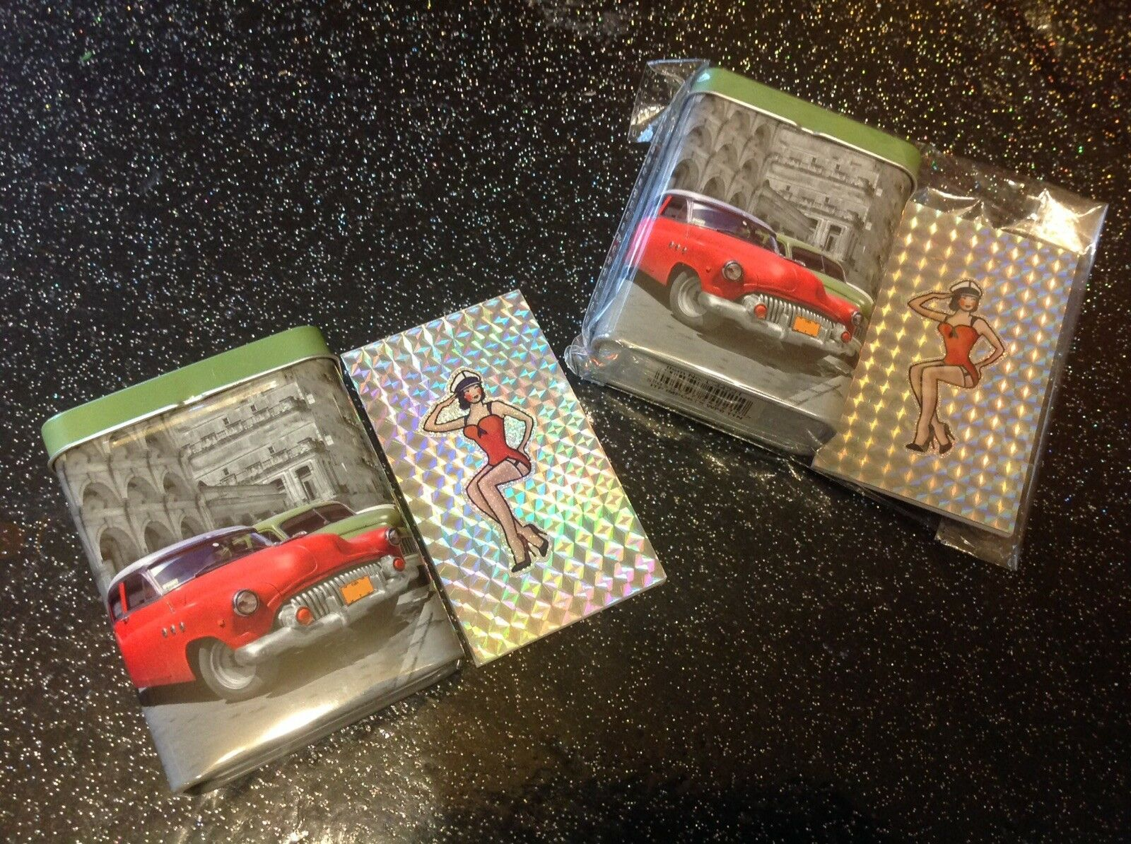 Retro Rockabilly Pin Up 50's girl Notepad +1952 Buick Car Tin 2pc Gift Set