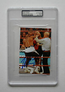 MIKE-TYSON-AUTHENTIC-SIGNED-4x6-PHOTO-BITING-EVANDER-HOLYFIELD-039-S-EAR-PSA-ENCASED