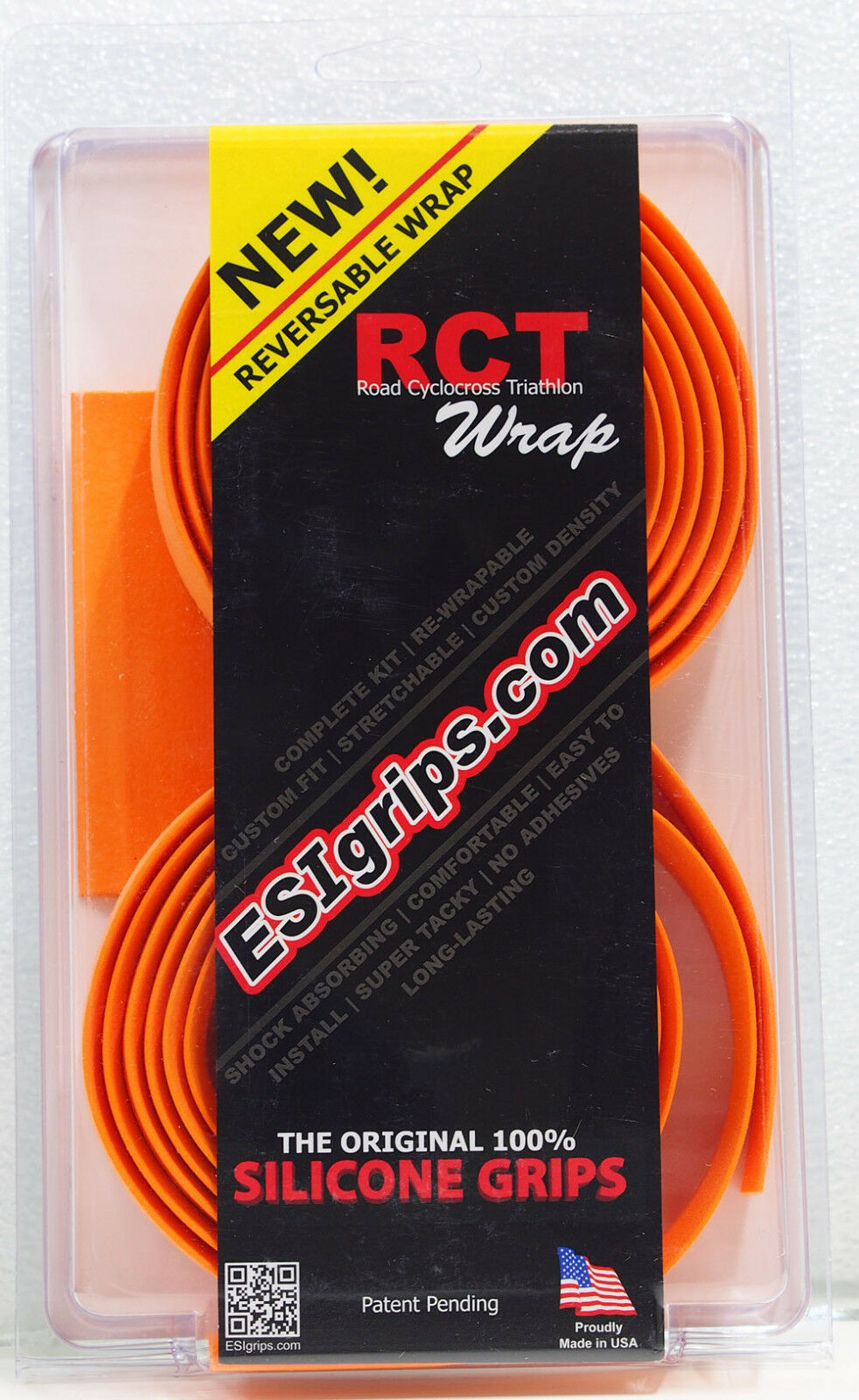 ESI Grips RCT Reversable Wrap Silicone Bar Tape, Road TT CX ESIGrip, orange