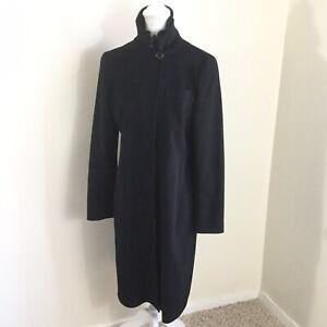 Akris Punto Women's Coat Soft Wool Black Long Pea Coat Zip Button Size 10